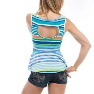 Tops - Stripe peplum top w/cut out back Small